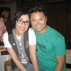 Marga Gomez, Alec Mapa backstage in Santa Rosa